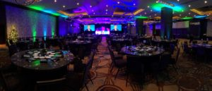 large conference space set up for event