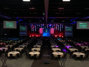 large event presentation with multiple screens