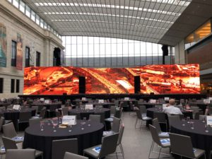 large horizontal screen event display