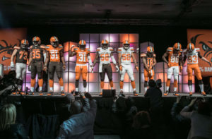cleveland browns players on stage