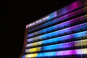 outdoor lighting and logo projection at University Hospitals