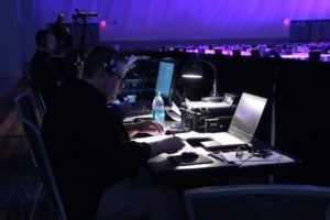 audiovisual production team working at event