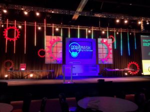 custom event stage and lighting at Codemash