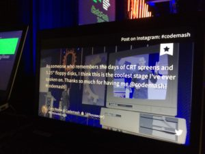 Codemash tweets displayed on screen