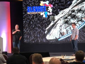 digital signage on stage at Elevate conference