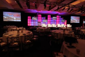 event screens and stage lighting at Gabbcon