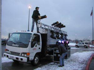 outdoor event lighting team working