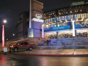Allstate logo projected on building exterior