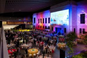 large scale event table setup and screen projection